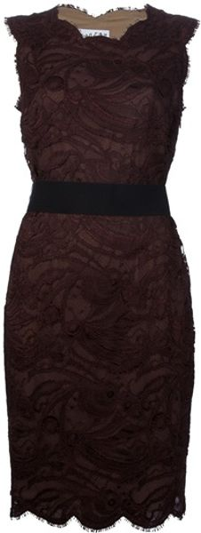 Emilio Pucci Scallop Trimmed Lace Dress in Red (purple) - Lyst
