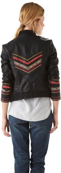 Free people seamed embroidered jacket in vegan leather