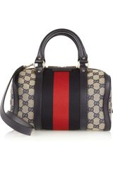 Gucci Small Vintage Web Boston Canvas Tote in Gray (beige) - Lyst