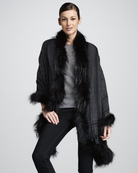 Gucci Foxtrimmed Gg Stole in Black (one size) - Lyst