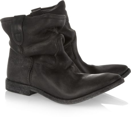 Isabel Marant Jenny Slouchy Leather Ankle Boots in Black - Lyst