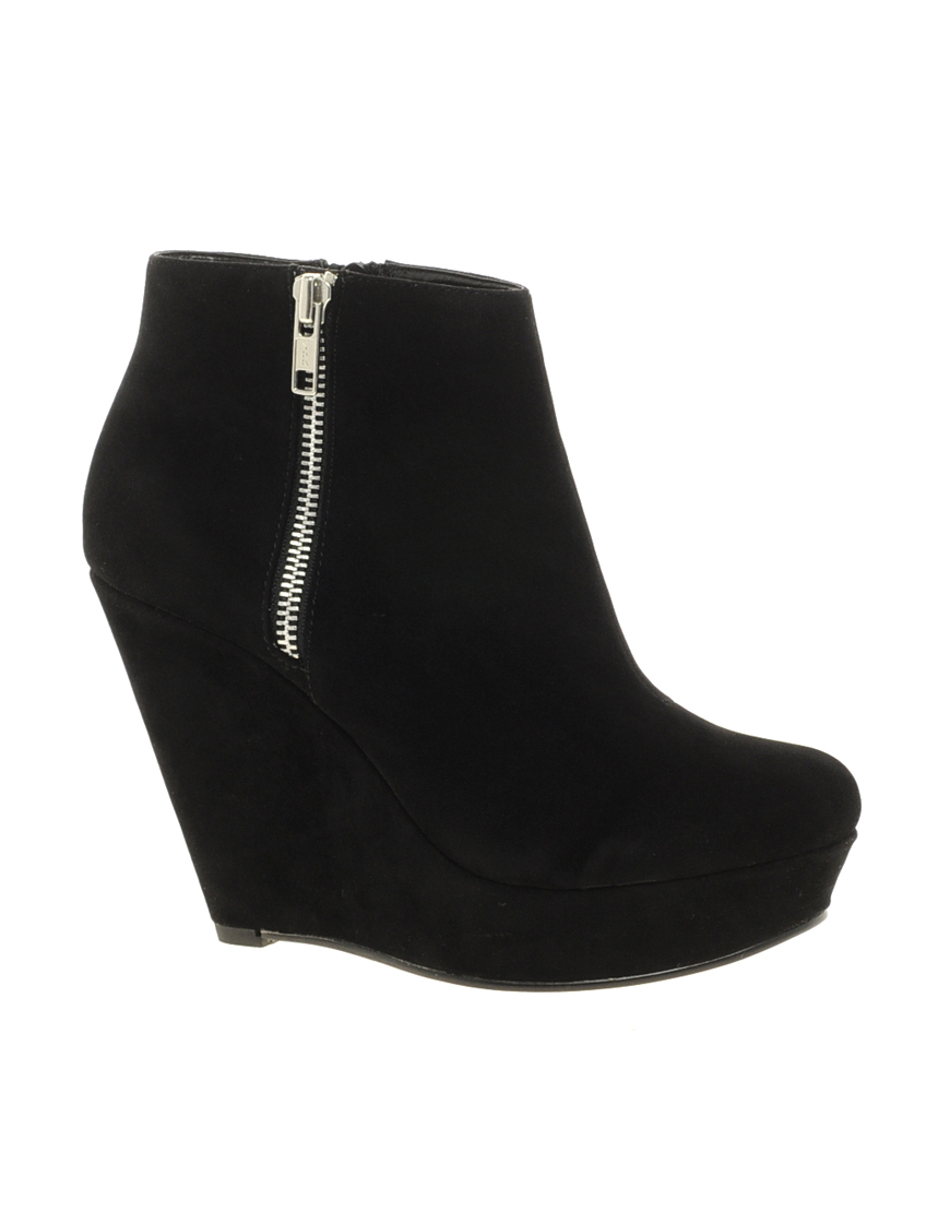 Kg by kurt geiger Miss Kg Felicity Wedge Ankle Boots in Black | Lyst