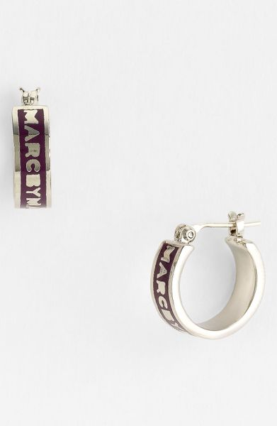 Marc By Marc Jacobs Classic Marc Hoop Earrings in Purple (dark magenta/ silver) - Lyst