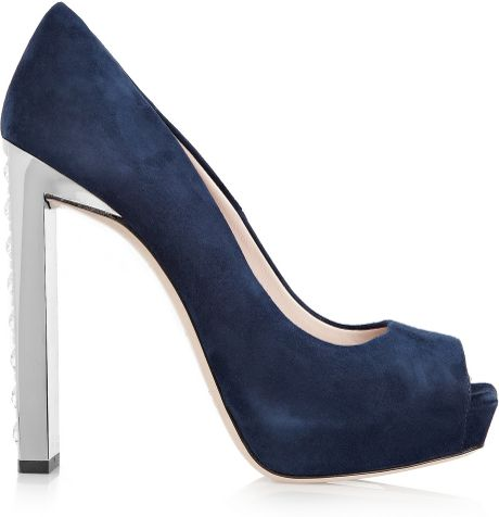 Miu Miu Swarovski Crystal Embellished Suede Pumps in Blue (navy