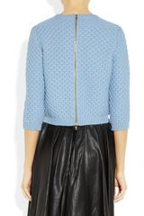 Miu Miu Jewel Collared Chunky Knit Wool Sweater in Blue (sky) - Lyst