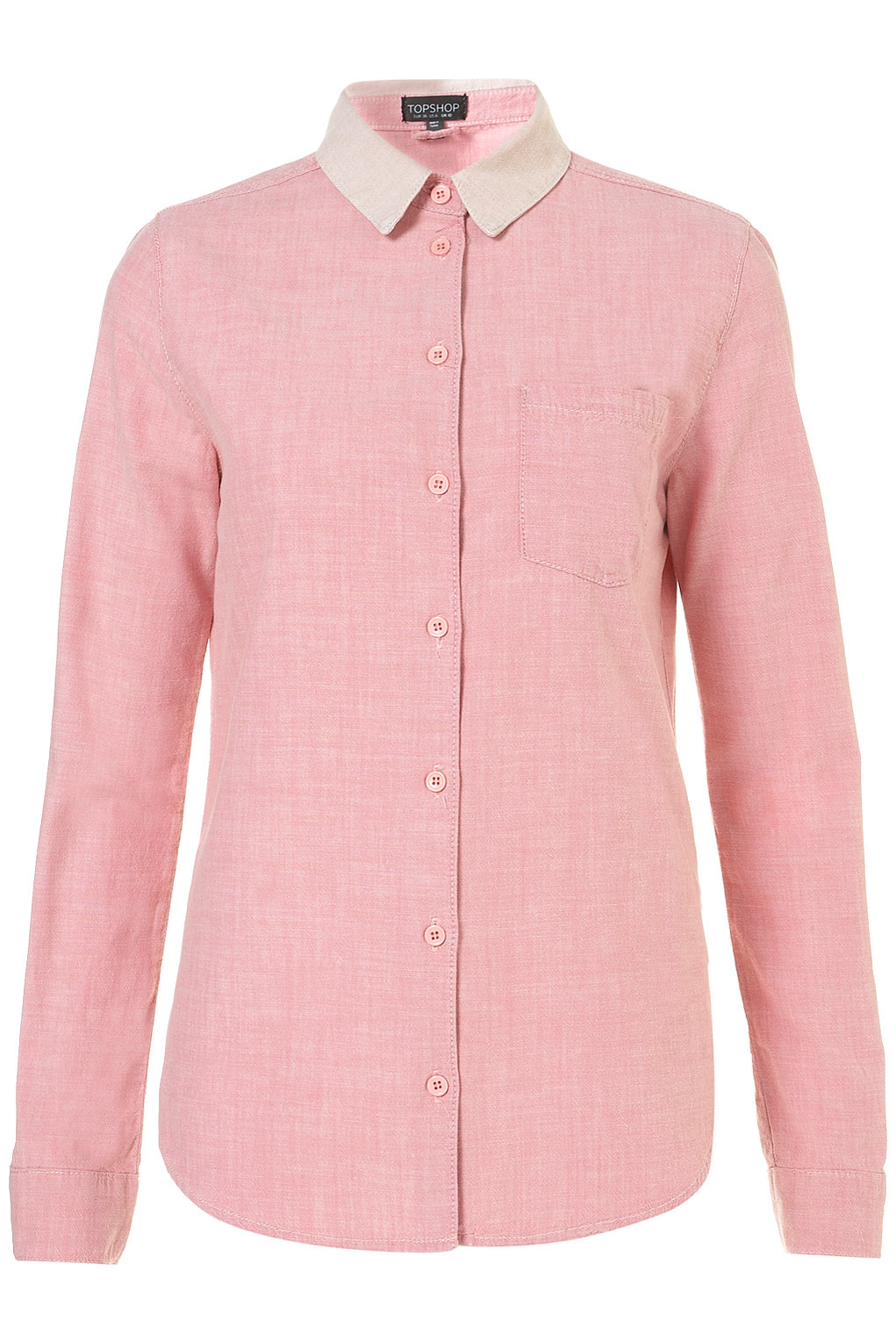 Lyst topshop moto pink contrast collar denim shirt in pink for Womens denim shirts topshop