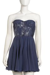 Rebecca Taylor Sequin Strapless Dress - Lyst
