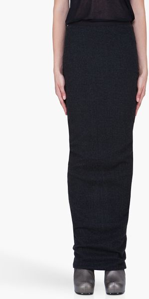 Rick Owens Charcoal Soft Pillar Skirt - Lyst