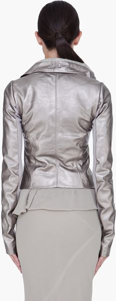 Rick Owens Silver Leather Biker Jacket in Silver - Lyst