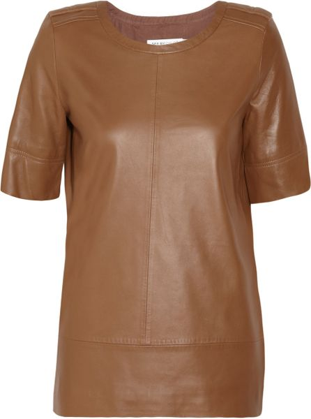 See By Chloé Leather Top in Brown (camel) - Lyst