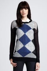 Theory Argyle Sweater - Lyst