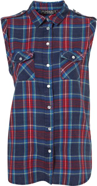 Topshop Sleeveless Tab Shoulder Check Shirt - Lyst