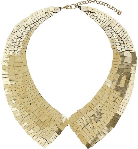 Topshop Sequin Peter Pan Necklace in Gold - Lyst