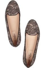 Valentino Embellished Lace and Leather Loafers in Black - Lyst