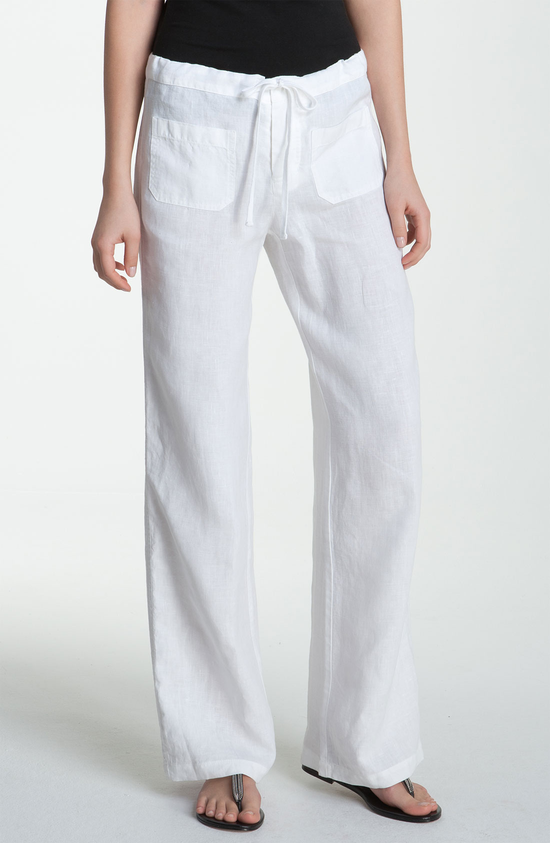 Vince Wide Leg Linen Drawstring Pants In White Lyst