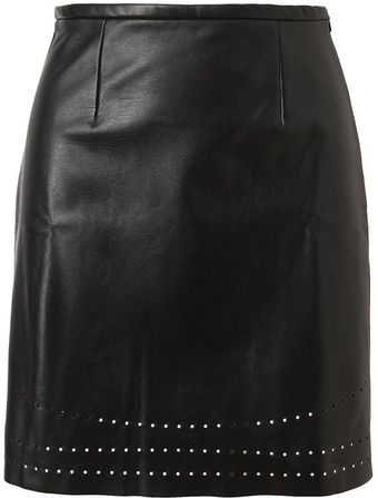 Yasmin Kianfar Laser Cut Leather Skirt - Lyst