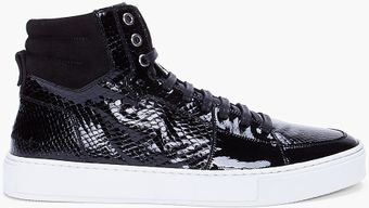 Yves Saint Laurent Black Scale Embossed Patent Sneakers - Lyst