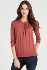 Ann Taylor Petite Merino Wool Pleated Pullover in Brown (burnt sugar) - Lyst