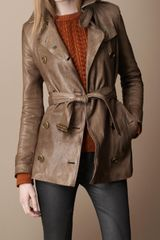 Burberry Brit Short Leather Trench Coat - Lyst