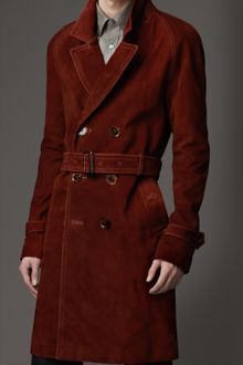 Burberry Mid-Length Waxed Suede Trench Coat - Lyst