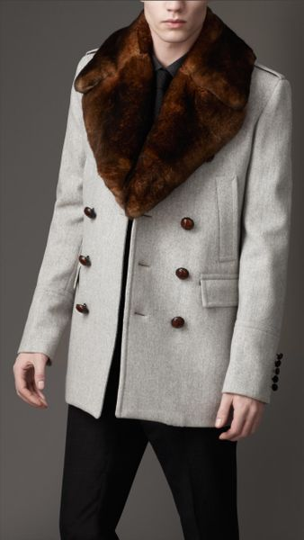 Burberry Fur Collar Pea Coat In Gray For Men Pale Grey