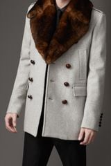 Burberry Fur Collar Pea Coat - Lyst