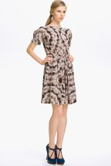 Cacharel Feather Print Silk Dress - Lyst