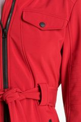 London Fog Belted Jacket with Detachable Hood in Red - Lyst