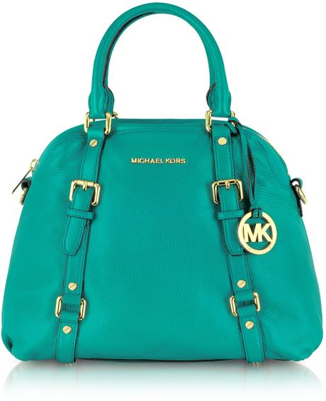 Michael Kors Bedford Genuine Leather Bowling Satchel Bag in Blue (aqua ...