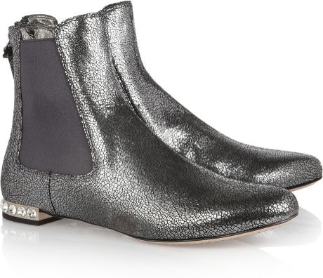 Miu Miu Cracked Metallicleather Boots in Silver (gold) - Lyst
