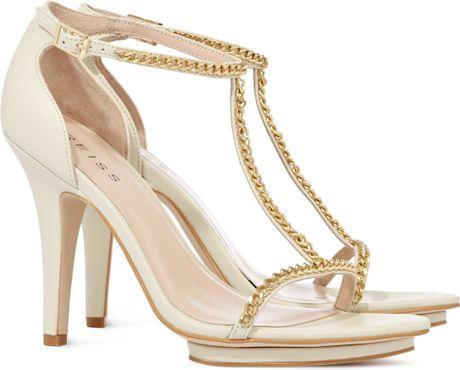 Reiss Chain Strappy Sandals in Gold (cream)