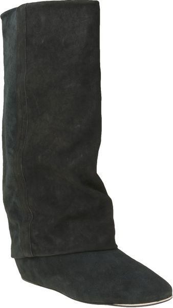 see by chlo 233 fold suede boot in black lyst