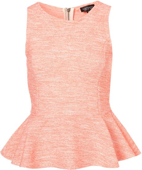 Topshop Sleeveless Boucle Peplum Top in Pink (fluro orange) - Lyst