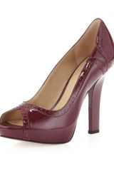Via Spiga Elizabeth Patent Leather Peeptoe Pump Raspberry - Lyst