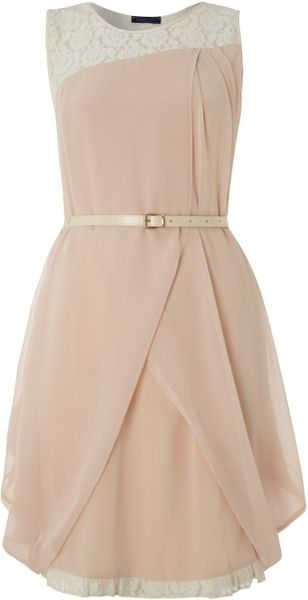 Vivi Boutique Sleeveless Belted Dress in Pink (beige) - Lyst