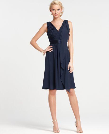 Ann taylor silk georgette flutter bridesmaid dress in blue for Ann taylor dresses wedding