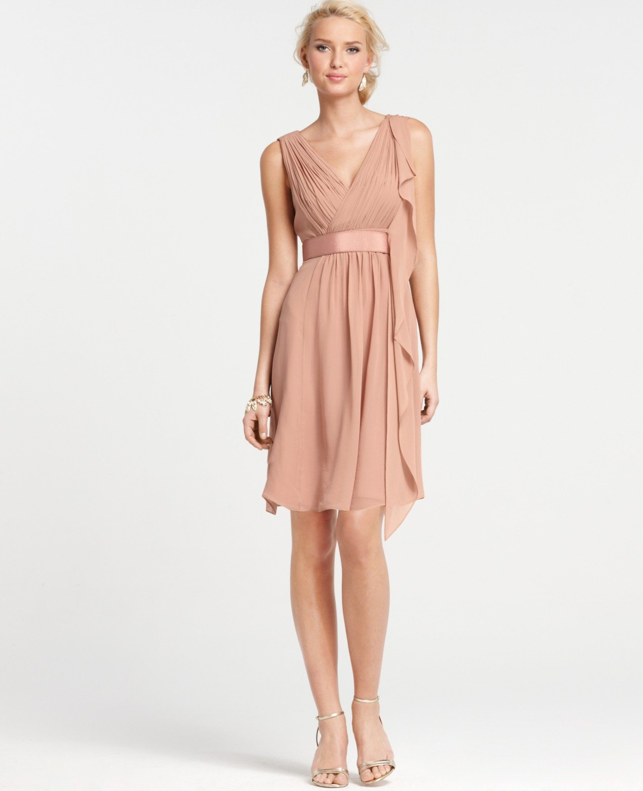 Ann taylor petite silk georgette flutter bridesmaid dress for Wedding dresses ann taylor