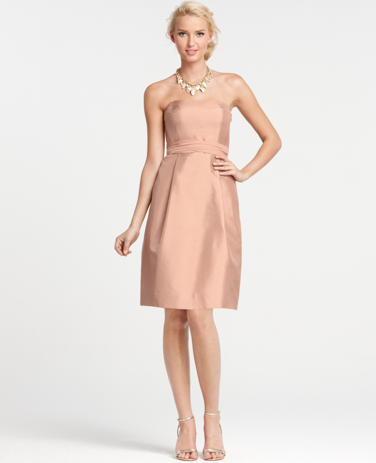 Lyst ann taylor silk dupioni strapless bridesmaid dress in natural gallery womens bridesmaid dresses ombrellifo Images