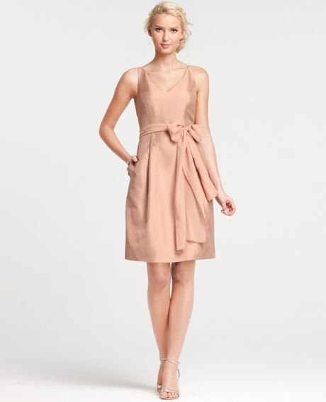 Ann taylor silk dupioni vneck bridesmaid dress in pink for Anne taylor wedding dress