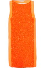 Antonio Berardi Sequined-front Crepe Mini Dress - Lyst
