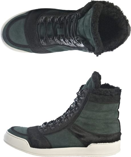 Balmain Pony Hair Suede and Shearling Trainers in Green for Men - Lyst