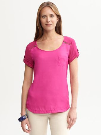 Banana Republic Mixed Media Zip Tee - Lyst