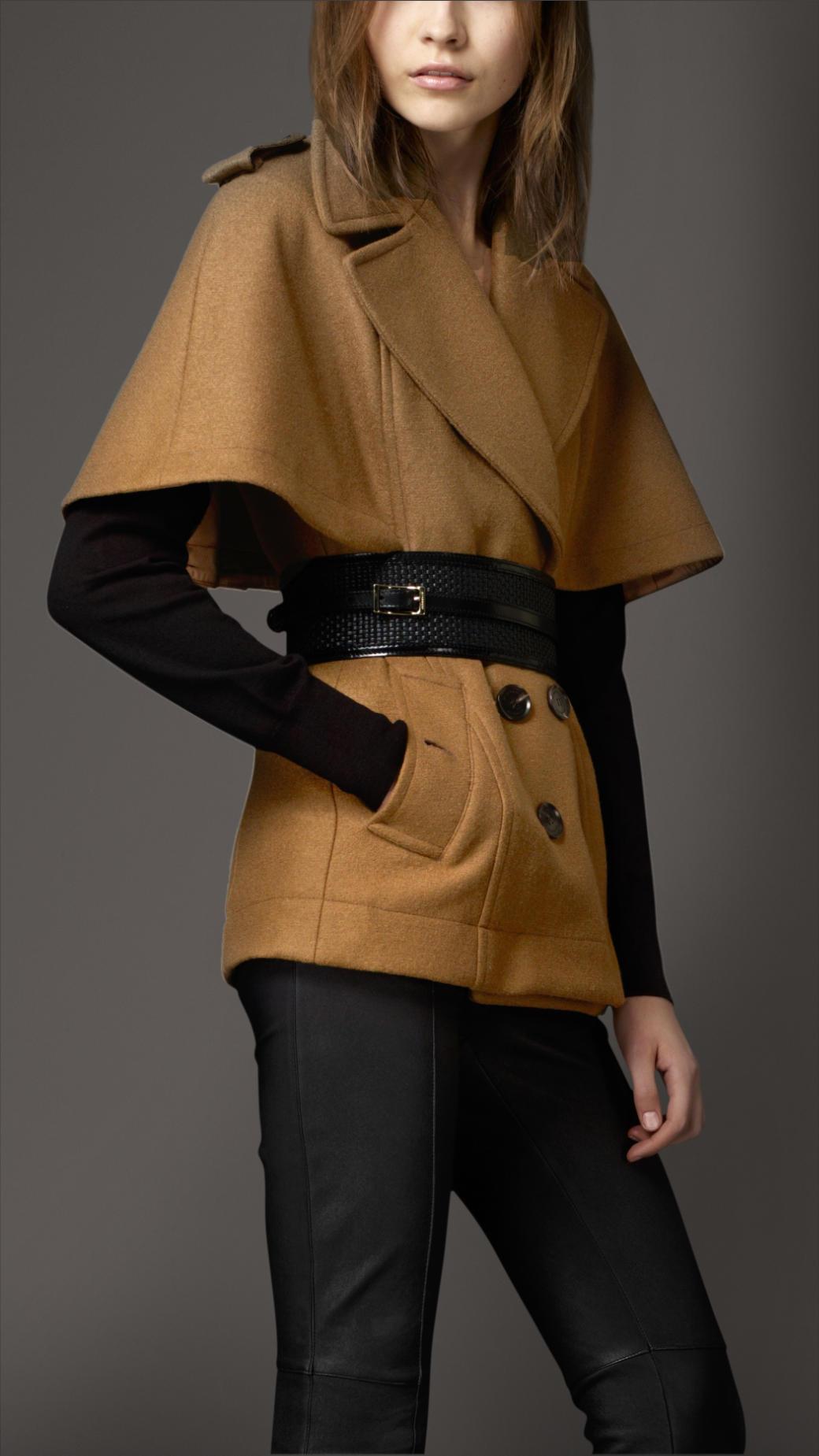 Burberry Wool Cape Coat in Brown