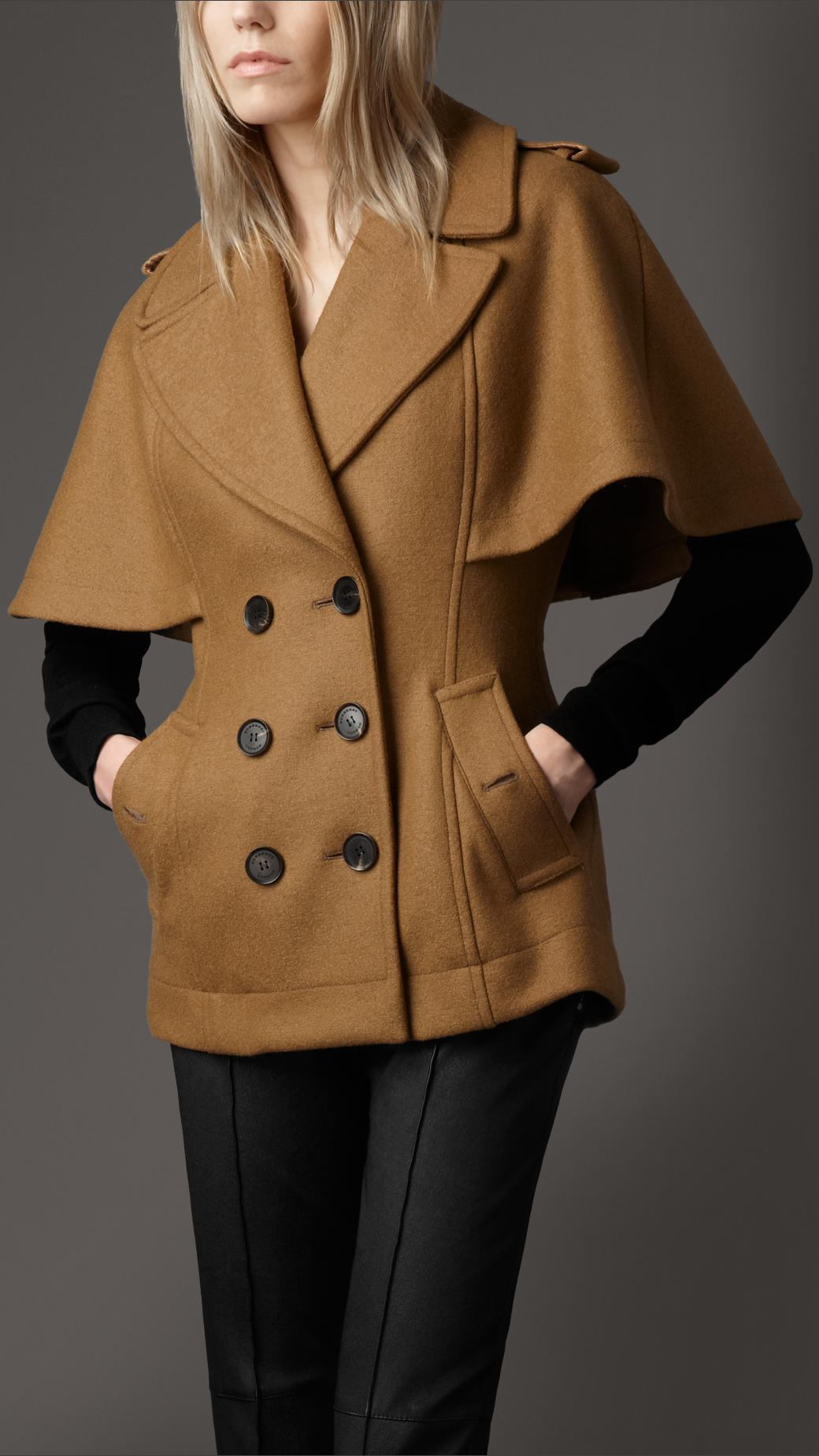 Lyst Burberry Wool Cape Coat In Brown