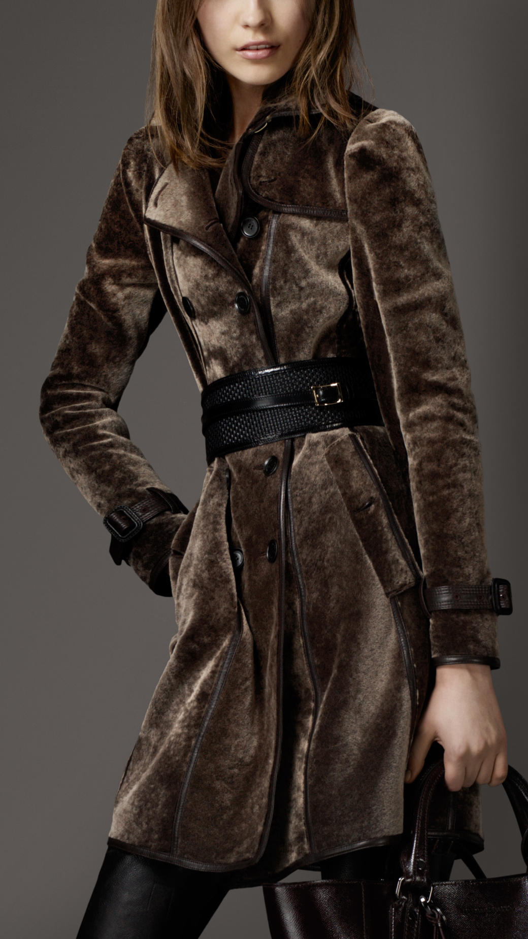 burberry long shearling trench coat in brown dark sable. Black Bedroom Furniture Sets. Home Design Ideas