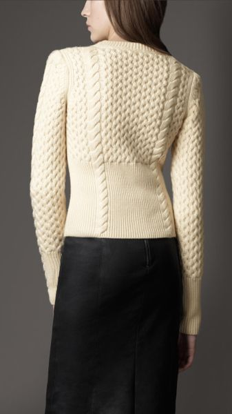 Burberry Wool Cashmere Cable Knit Sweater In Beige
