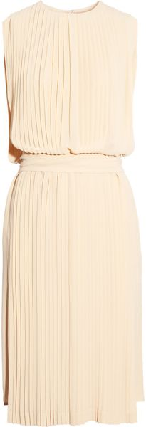 Chloé Pleated Silk-georgette Dress - Lyst