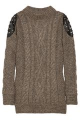 Elizabeth And James Studded Leather-paneled Cable-knit Sweater