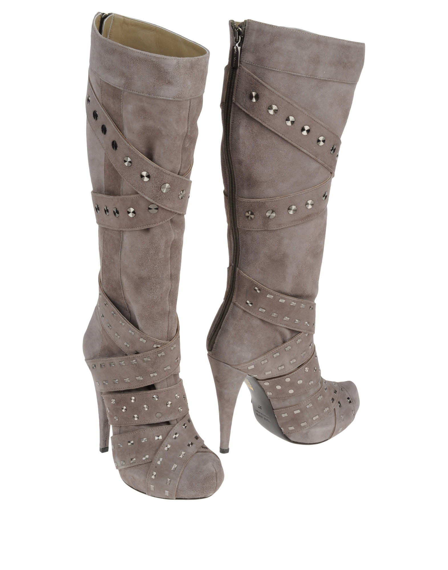 enrico lugani high heeled boots in gray grey lyst