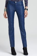 Free People Pants Vegan Leather Skinny in Royal Blue - Lyst